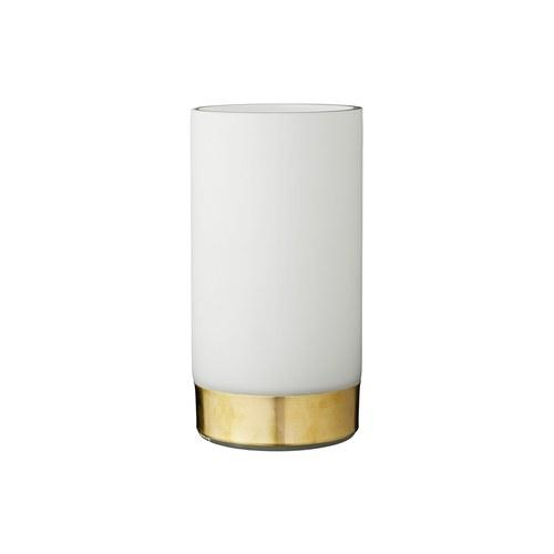 丹麥LeneBjerre 霧白鑲金邊玻璃花器 (高24公分)