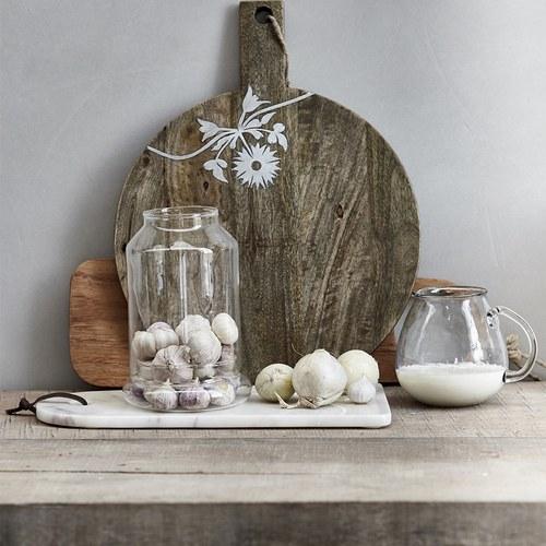 丹麥LeneBjerre 大理石雕刻花卉鐘型托盤 (長30.5公分)