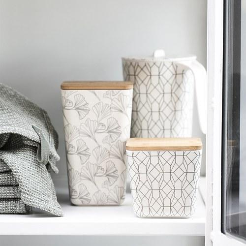 丹麥LeneBjerre 幾何圖紋竹蓋儲物罐