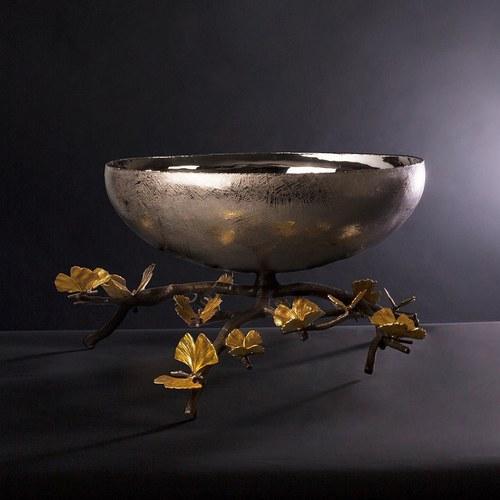 美國MichaelAram工藝飾品 銀杏蝴蝶系列高腳托盤 (高19.7公分)