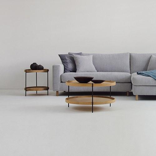 丹麥Sketch 立體邊緣雙層圓形邊桌 (橡木、直徑44cm)
