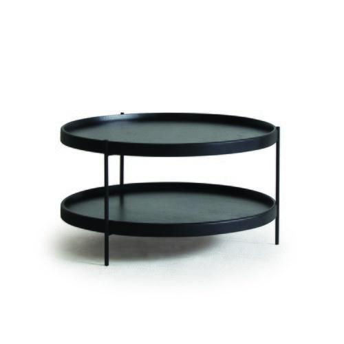 丹麥Sketch 立體邊緣雙層圓形茶几 (黑、直徑90cm)