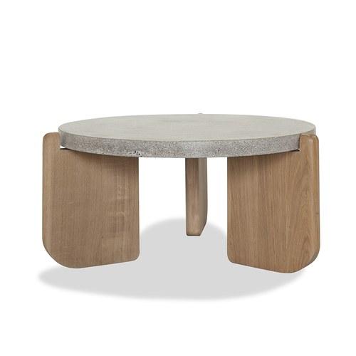 丹麥Sketch 水磨石面圓形茶几 (暖灰、直徑70公分)