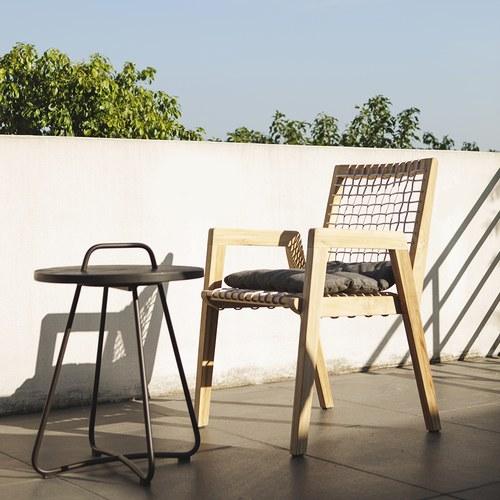 荷蘭Woven+戶外家具 森巴舞曲柚木邊桌 (黑)