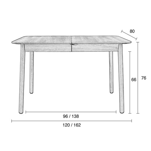 荷蘭Zuiver 簡約木作延伸餐桌 (黑、長120公分)