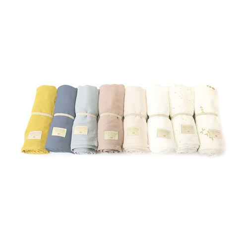 西班牙Nobodinoz有機棉 新生兒寶寶嬰兒包巾禮盒 (白)