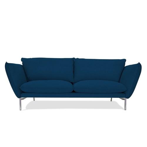 波蘭Sits Hugo金屬腳布面三人沙發 (午夜藍)