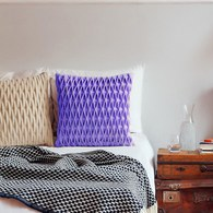 葡萄牙BUREL 立體菱格紋方形抱枕 (紫)