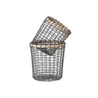 丹麥LeneBjerre 圓形鐵製鋅色置物籃 (2入組)