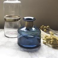 丹麥Nordal 鑲金圈玻璃花器 (藍、高18公分)