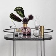 丹麥Nordal 鑲金圈玻璃花器 (紫、高18公分)