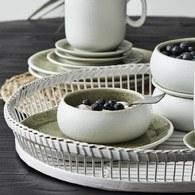 丹麥Nordal 磨砂白陶瓷碗盤組 (綠、直徑9.5公分)