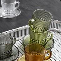 丹麥Nordal 馬賽克霧感玻璃馬克杯(草綠)