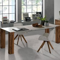 義大利OliverB 陶瓷實木柱腳餐桌 (長220公分)
