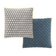 西班牙GanRugs 繽紛編織雙面方型抱枕/灰.霧藍