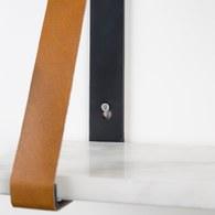 荷蘭Zuiver 皮革吊帶大理石板牆面掛架(白)