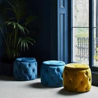 英國Alexander&James 天鵝絨手工圓形腳凳 (深洋藍)
