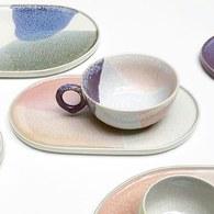 荷蘭HkLiving 粉彩調色藝術圓型茶杯(紫丁香+粉膚)