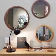 葡萄牙WEWOOD 圓形月牙造型鏡 (核桃木、直徑60公分)