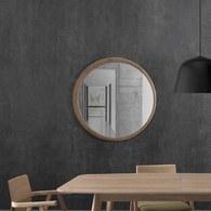 葡萄牙WEWOOD 圓形月牙造型鏡 (橡木、直徑120公分)