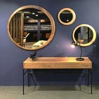 葡萄牙WEWOOD 圓形月牙造型鏡 (核桃木、直徑120公分)